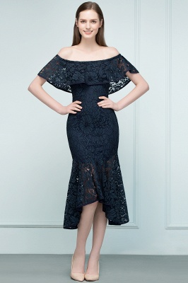 Mermaid Off-shoulder Tea Length Black Lace Prom Dresses_5
