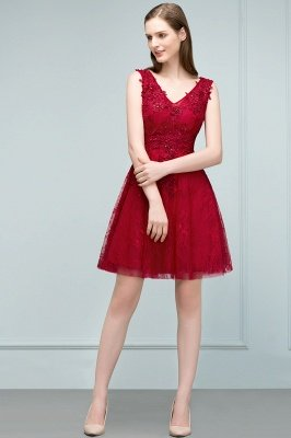 JULIA | A-line Sleeveless Short V-neck Lace Appliqued Tulle Prom Dresses_10