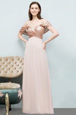 A-line  Sequins Straps Sweetheart Sleeveless Floor-Length Bridesmaid Dresses_1