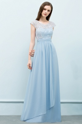 A-line Long Cap Sleeves Lace Top Chiffon Bridesmaid Dress_8