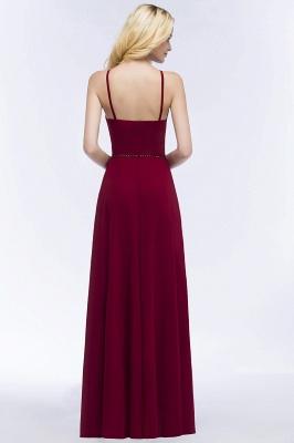 A-line Keyhole Neckline Spaghetti Bridesmaid Dress with Beading Sash In Stock_3