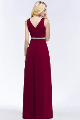 A-line Long Sleeveless V-neck Ruffled Chiffon Bridesmaid Dresses with Beading Sash_3