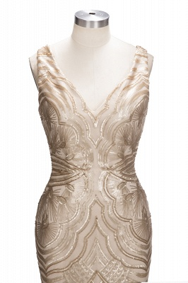 V-neck Sequins Gold Sexy Deep Sleeveless Mermaid Champagne Evening Gown_5