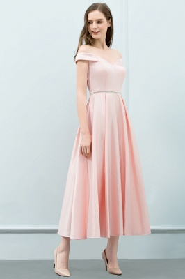 Cheap A-line Off-shoulder Tea Length Pink Prom Dress with Sash in Stock_7