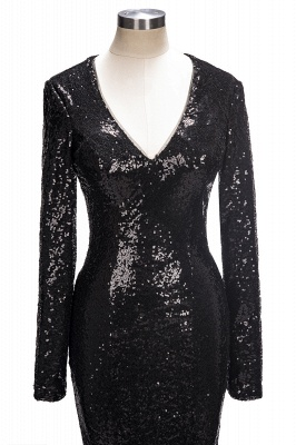 Mermaid Black Sequins Long-Sleeves Shiny V-Neck Prom Dresses_1