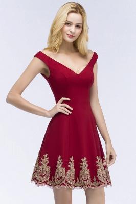 ROSE   A-line V-neck Short Off-shoulder Appliques Burgundy Homecoming Dresses_7