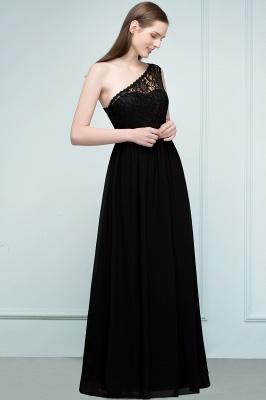 SYBIL | A-line One-shoulder Long  Lace Chiffon Bridesmaid Dresses with Sash_4