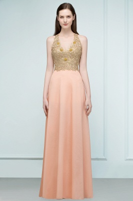 RENA | A-line Floor Length Spaghetti V-neck Appliqued Chiffon Bridesmaid Dresses_8