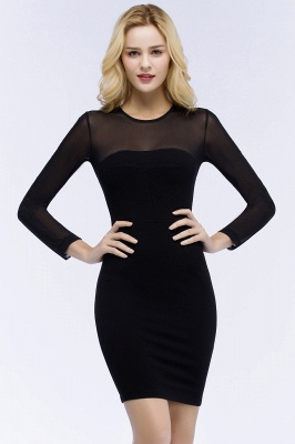 Jewel Long Sleeves Sheer Sexy Bodycon Black Short Party Dresses_1