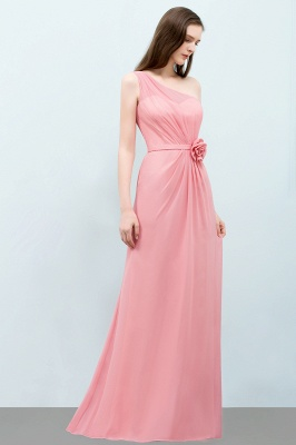 Mermaid  One-shoulder Sleeveless Ruffled Floor-Length Bridesmaid Dresses with Flower_3