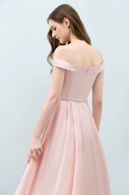 Cheap A-line Off-shoulder Tea Length Pink Prom Dress with Sash in Stock_8