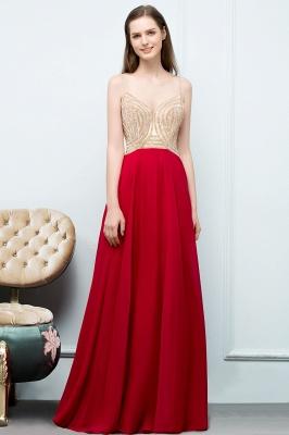 A-line Spaghetti Floor Length Beading Burgundy Prom Dresses_5