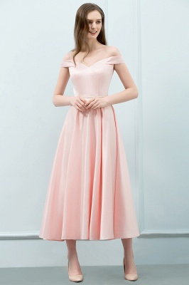 Cheap A-line Off-shoulder Tea Length Pink Prom Dress with Sash in Stock_4