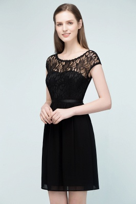 Cheap A-line Short Scoop Lace Top Chiffon Bridesmaid Dress in Stock_2