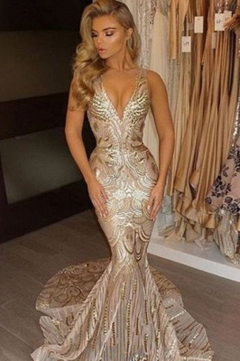 V-neck Sequins Gold Sexy Deep Sleeveless Mermaid Champagne Evening Gown_2