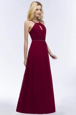 A-line Keyhole Neckline Spaghetti Bridesmaid Dress with Beading Sash In Stock_6