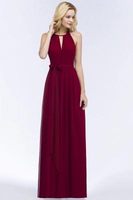 A-line Halter Floor Length Burgundy Bridesmaid Dress with Bow Sash_13