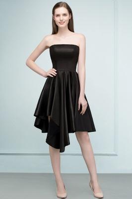 REA | A-line Strapless Short Ruffles Black Homecoming Dresses_1
