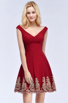 ROSE   A-line V-neck Short Off-shoulder Appliques Burgundy Homecoming Dresses_6