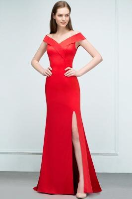 Mermaid Off-shoulder Floor Length Split Red Prom Dresses_4