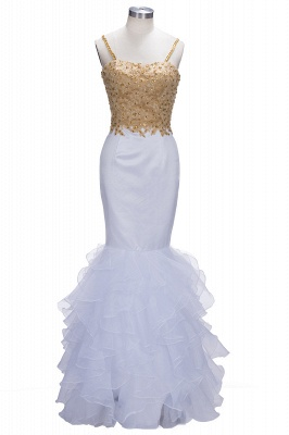 Amazing Gold & White Prom Dresses Spaghetti Straps Beading Ruffles Train Mermaid Evening Gowns_1