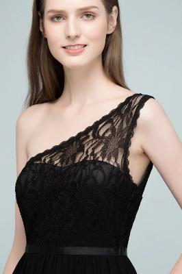 SYBIL | A-line One-shoulder Long  Lace Chiffon Bridesmaid Dresses with Sash_9