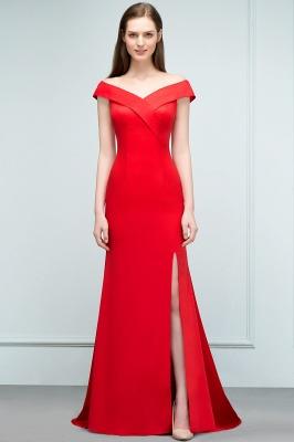 Mermaid Off-shoulder Floor Length Split Red Prom Dresses_6