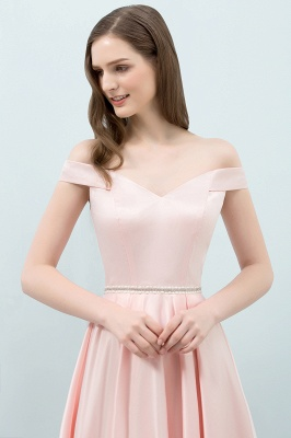 Cheap A-line Off-shoulder Tea Length Pink Prom Dress with Sash in Stock_6
