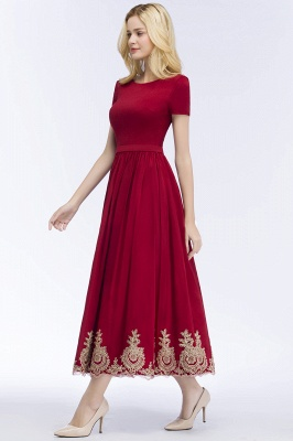 A-line Short Sleeves Ankle Length Appliques Prom Dresses with Sash_8