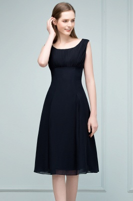 A-line Tea Length Sleeveless Ruffled Chiffon Bridesmaid Dresses_7