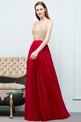 A-line Spaghetti Floor Length Beading Burgundy Prom Dresses_7