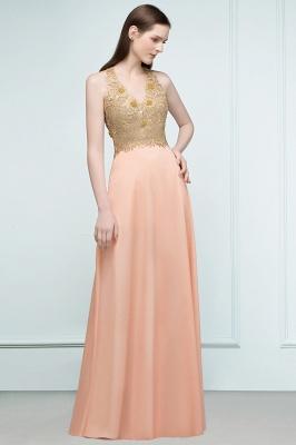 RENA | A-line Floor Length Spaghetti V-neck Appliqued Chiffon Bridesmaid Dresses_2