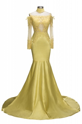 Bright Yellow Mermaid Prom Dresses | Sexy Sheer Appliques Evening Dresses_1