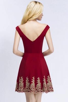 ROSE   A-line V-neck Short Off-shoulder Appliques Burgundy Homecoming Dresses_3