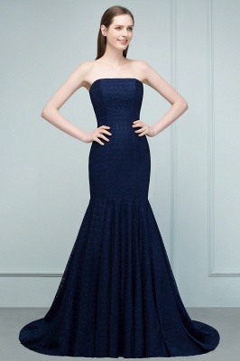 Mermaid Strapless Floor Length Lace Prom Dresses_5