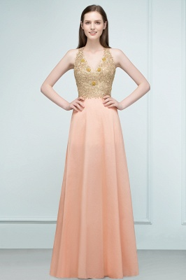 RENA | A-line Floor Length Spaghetti V-neck Appliqued Chiffon Bridesmaid Dresses_5