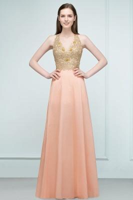RENA | A-line Floor Length Spaghetti V-neck Appliqued Chiffon Bridesmaid Dresses_5