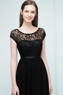 A-Line  Lace Jewel Short-Sleeves Floor-Length Bridesmaid Dresses with Sash_5