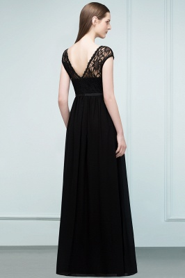 A-Line  Lace Jewel Short-Sleeves Floor-Length Bridesmaid Dresses with Sash_2