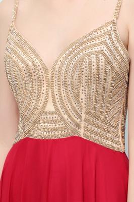 A-line Spaghetti Floor Length Beading Burgundy Prom Dresses_10