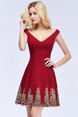 ROSE   A-line V-neck Short Off-shoulder Appliques Burgundy Homecoming Dresses_8