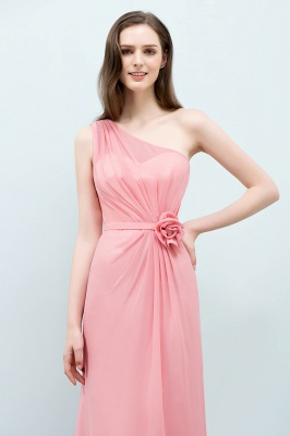 Mermaid  One-shoulder Sleeveless Ruffled Floor-Length Bridesmaid Dresses with Flower_4