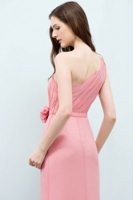 Mermaid  One-shoulder Sleeveless Ruffled Floor-Length Bridesmaid Dresses with Flower_5