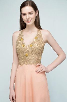 RENA | A-line Floor Length Spaghetti V-neck Appliqued Chiffon Bridesmaid Dresses_7