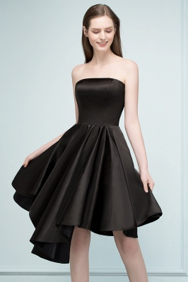 REA | A-line Strapless Short Ruffles Black Homecoming Dresses_6