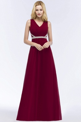 A-line Long Sleeveless V-neck Ruffled Chiffon Bridesmaid Dresses with Beading Sash_6