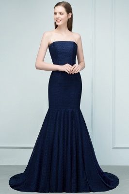 Mermaid Strapless Floor Length Lace Prom Dresses_9
