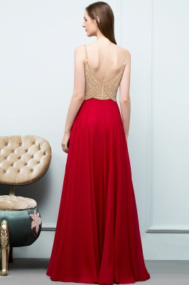 A-line Spaghetti Floor Length Beading Burgundy Prom Dresses_3