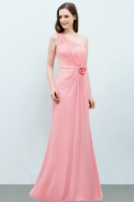 Mermaid Floor Length One-shoulder Ruffled Chiffon Bridesmaid Dresses with Flower_8