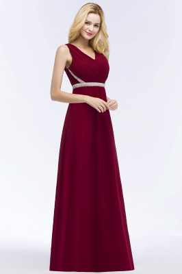 A-line Long Sleeveless V-neck Ruffled Chiffon Bridesmaid Dresses with Beading Sash_5